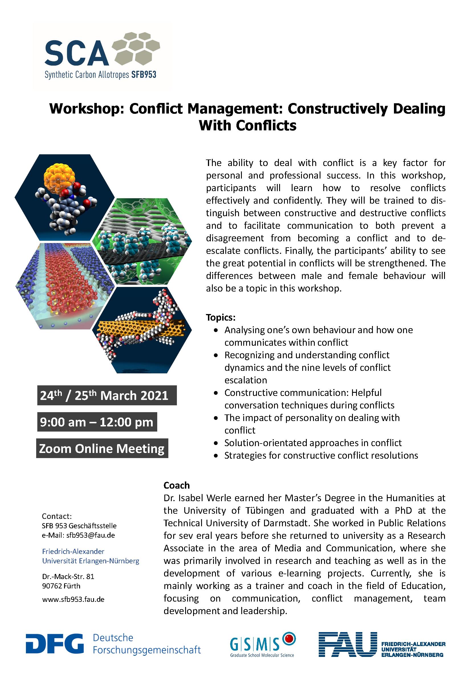 """Poster """"Workshop: Conflict Management"""""""