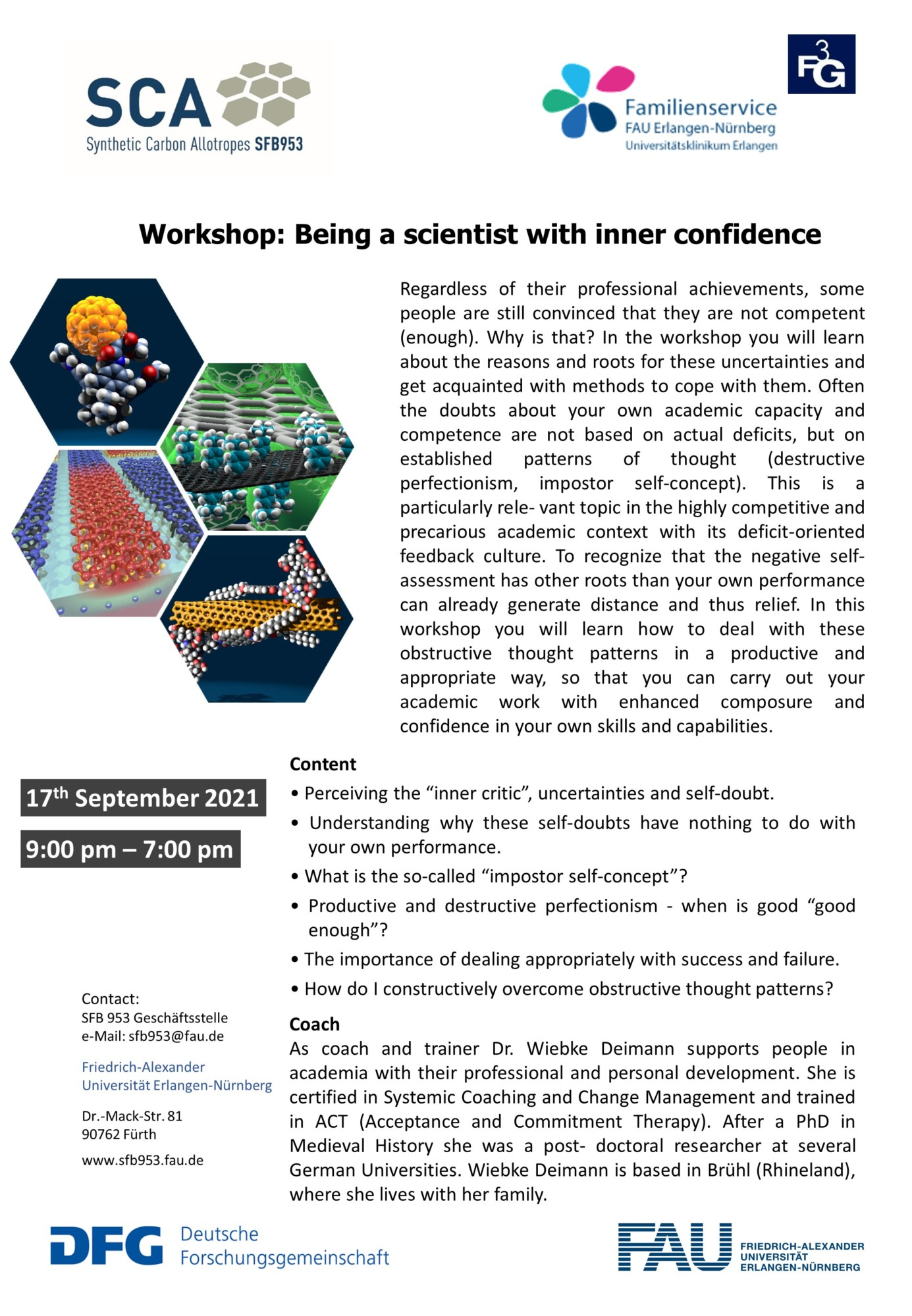 """Poster """"Workshop: Being a Scientist with Inner Confidence"""""""