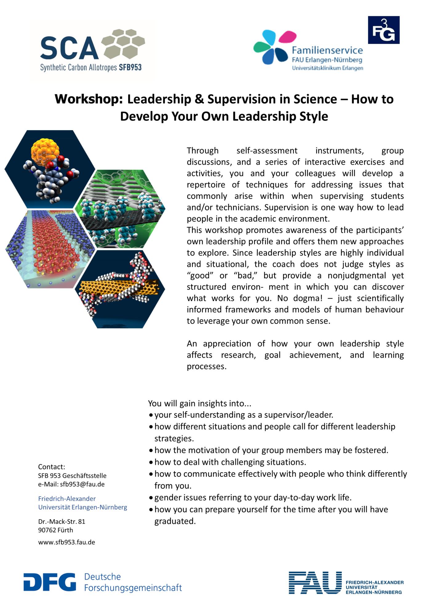 """Poster """"Workshop: Leadership in Science"""""""